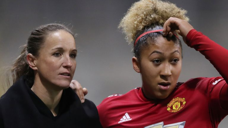 Manchester United manager Casey Stoney and forward Lauren James (PA)