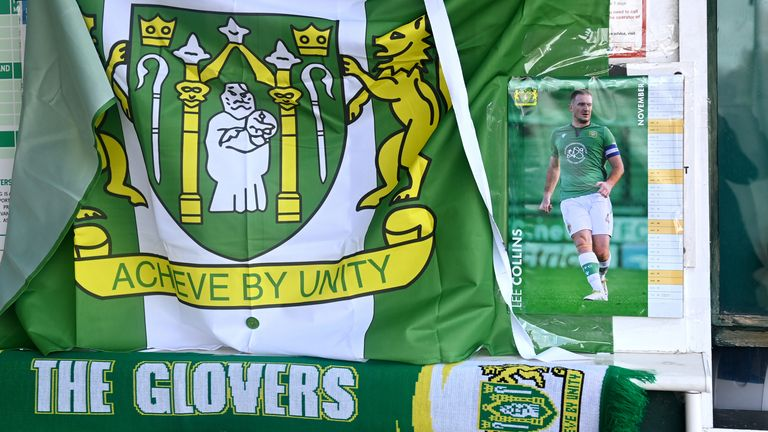 Tributes have been laid outside Huish Park in memory of captain Lee Collins