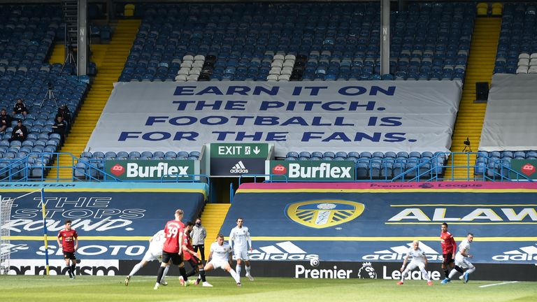 A banner referring the aborted European Super League is displayed in the stands
