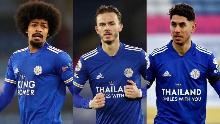 Leicester City's Hamza Choudhury, James Maddison and Ayoze Perez