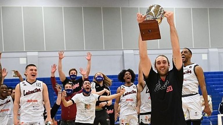 The Leicester Riders lift the BBL Championship trophy for the fifth time
