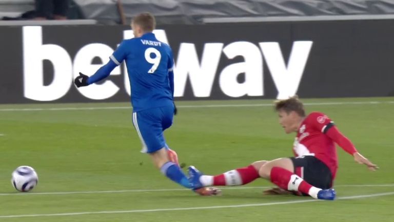 Vestergaard sees red for a last ditch challenge on Vardy
