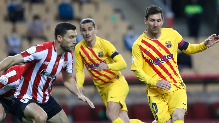 Lionel Messi looks to find a route past Athletic Bilbao on Saturday