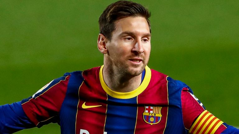 Lionel Messi scored twice for Barcelona in their 5-2 win