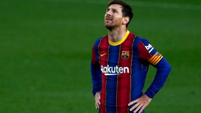 Lionel Messi reacts to Barcelona's shock Granada defeat