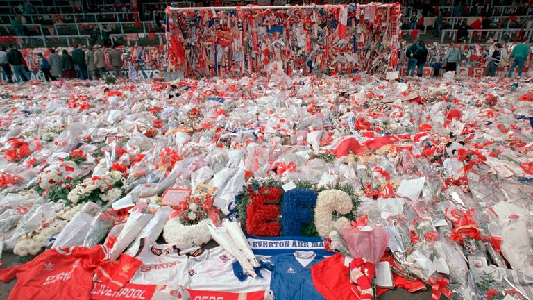 Hillsborough, flowers, Liverpool (AP)