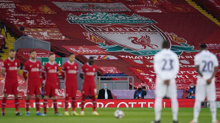 Liverpool and Real Madrid players observe a minute's silence to mark the 32nd anniversary of the Hillsborough disaster (AP)