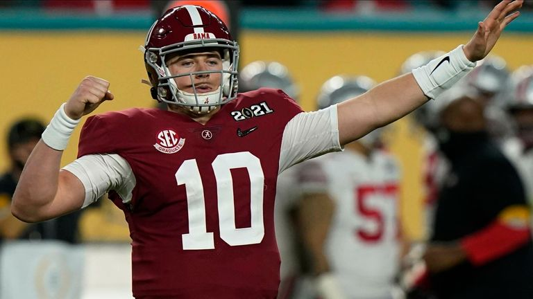 Alabama's Mac Jones has been tipped to land with the San Francisco 49ers with the No 3 overall pick in the draft