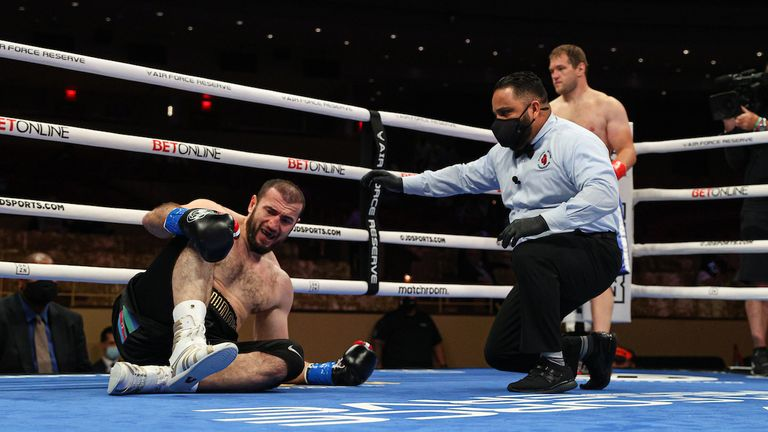 April 17, 2021; Miami, FL; Mahammadrasul Majidov and Andrey Fedosov during their bout on the April 17, 2021 Matchroom boxing fight card at the Hard Rock Seminole Casino in Hollywood, FL. Mandatory Credit: Ed Mulholland/Matchroom.