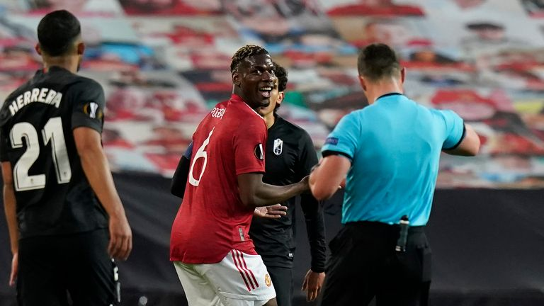 Paul Pogba was replaced during the break after booking