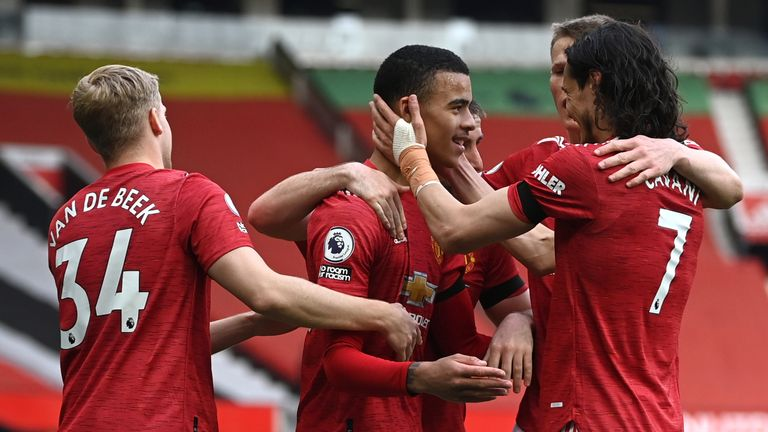 Manchester United's Mason Greenwood (centre) celebrates scoring his second goal against Burnley