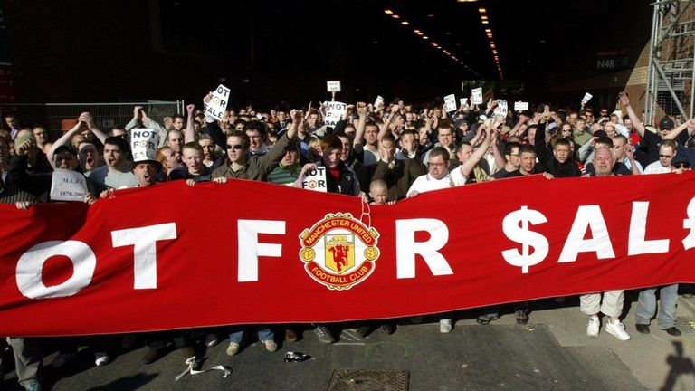 Malcolm Glazer's proposed takeover of Manchester United in 2005 was met by a number of fan protests - and the development of a new team, FC United of Manchester, by disgruntled supporters