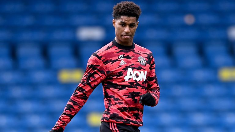 Marcus Rashford warms up ahead of the PL match against Leeds