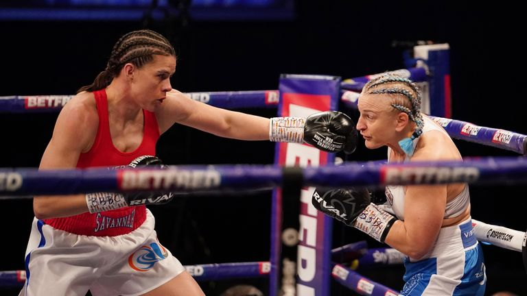 Savannah Marshall vs Maria Lindberg, WBO World Female Middleweight title Fight. 10 April 2021 Picture By Dave Thompson Matchroom Boxing