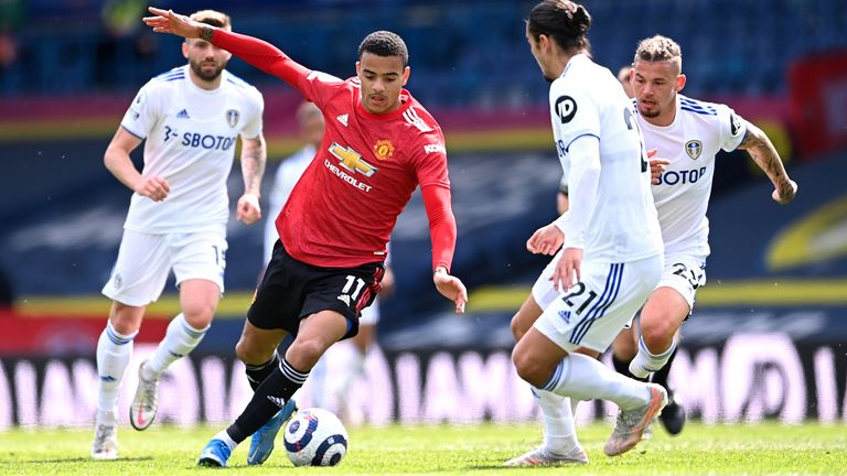 Mason Greenwood takes on the Leeds defence