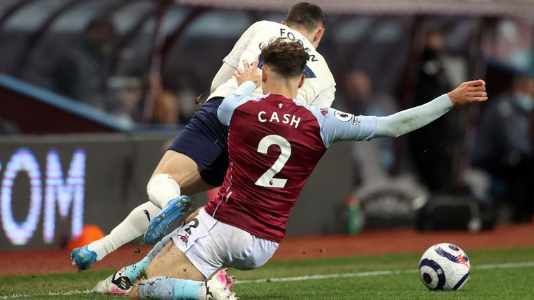 Matty Cash pulls down Phil Foden