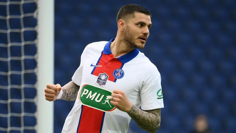 Mauro Icardi scored a hat-trick as PSG thrashed Angers to reach the semi-finals of the French Cup
