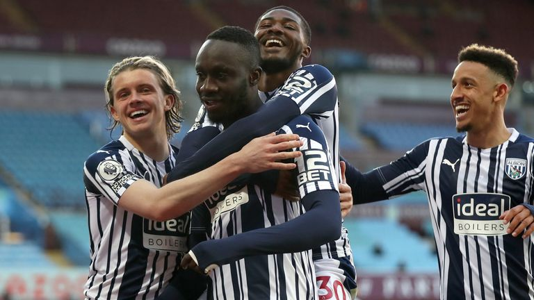Mbaye Diagne celebrates after putting West Brom 2-1 up against Aston Villa