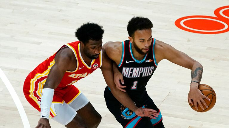AP - Memphis Grizzlies forward Kyle Anderson (1) works against Atlanta Hawks forward Solomon Hill (18)