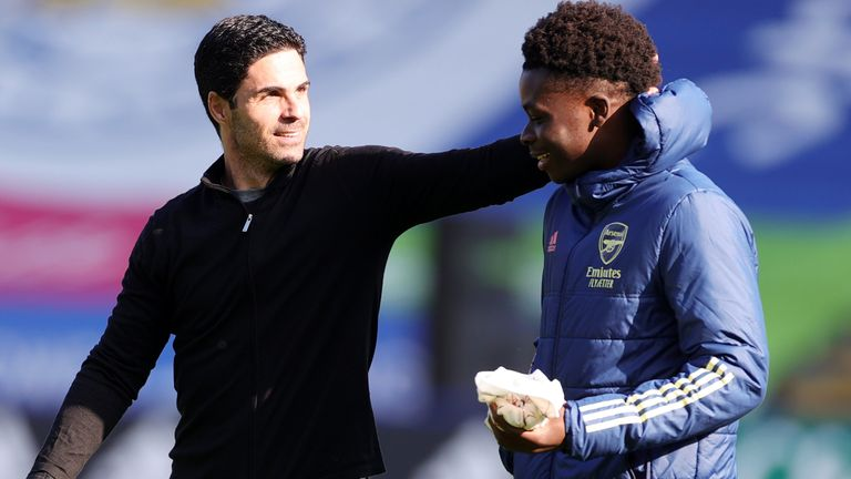 Arsenal Manager Mikel Arteta and Bukayo Saka of Arsenal after the Premier League match between Leicester City and Arsenal at King Power Stadium on February 28, 2021 in Leicester, United Kingdom.