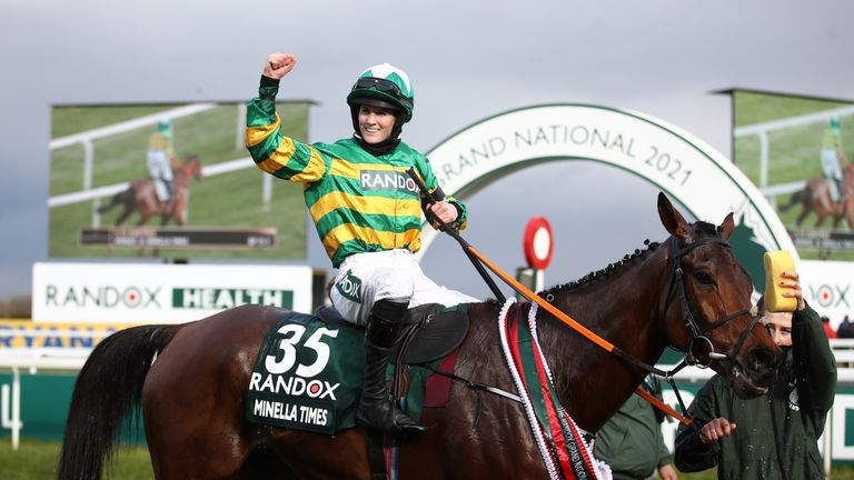 Rachel Blackmore celebrates Grand National victory on Minella Times