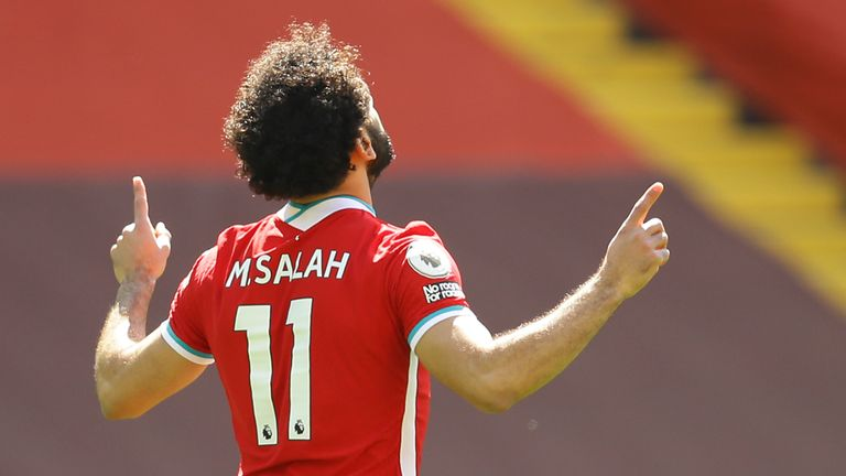Mo Salah celebrates after scoring for Liverpool against Newcastle