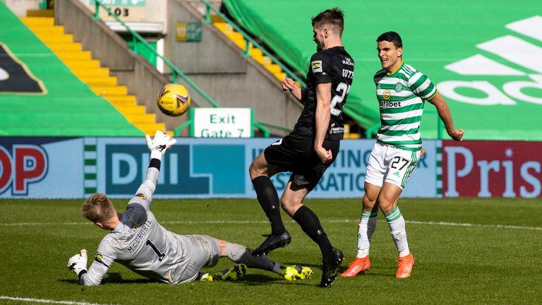 Mohamed Elyounoussi scored twice in Celtic' drubbing of Livingston