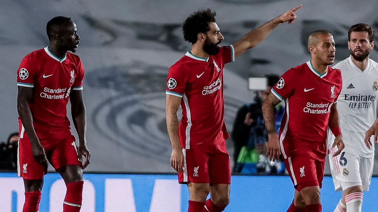 Mohamed Salah celebrates scoring for Liverpool against Real Madrid