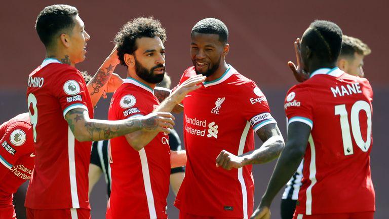 Mohamed Salah celebrates after scoring for Liverpool against Newcastle