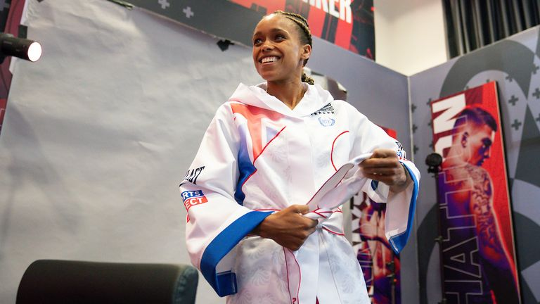 *** FREE FOR EDITORIAL USE ***.Natasha Jonas during todays Media Day.28 April 2021.Picture By Dave Thompson Matchroom Boxing