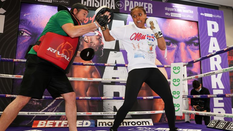 *** FREE FOR EDITORIAL USE ***.Natasha Jonas trains at the fight hotel .28 April 2021.Picture By Mark Robinson Matchroom Boxing