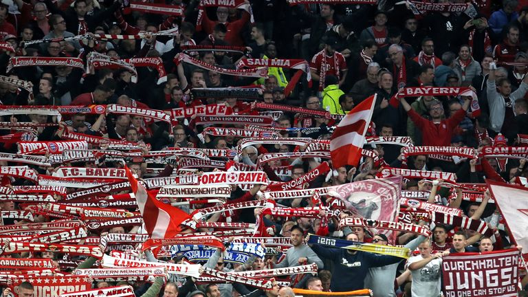 Bayern Munich fans celebrate after the final whistle during the UEFA Champions League match at Tottenham Hotspur Stadium, London. PA Photo. Picture date: Tuesday October 1, 2019. See PA story SOCCER Tottenham. Photo credit should read: Steven Paston/PA Wire