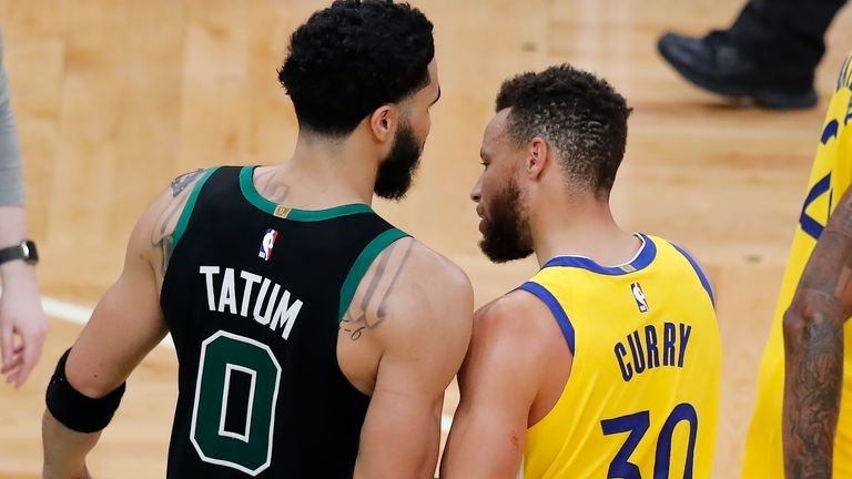 Jayson Tatum and Steph Curry