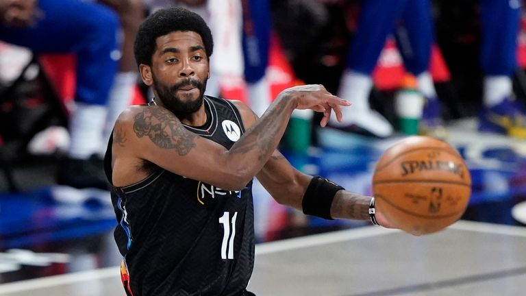 Brooklyn Nets' Kyrie Irving (11) during the first half of an NBA basketball game against the New York Knicks Monday, April 5, 2021, in New York.