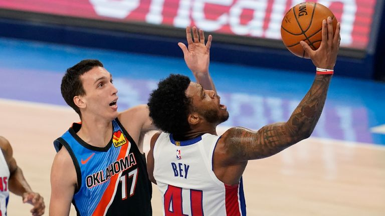 Detroit Pistons forward Saddiq Bey (41) goes to the basket in front of Oklahoma City Thunder forward Aleksej Pokusevski (17) in the second half of an NBA basketball game Monday, April 5, 2021, in Oklahoma City.