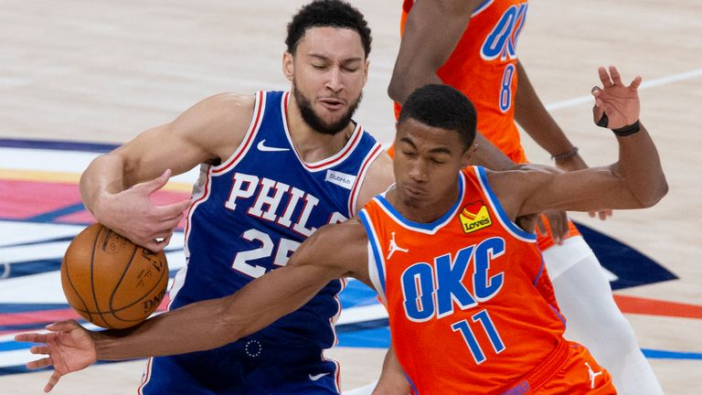 Oklahoma City Thunder guard Theo Maledon (11) tries to steal the ball from Philadelphia 76ers guard Ben Simmons (25) during the second half of an NBA basketball game, Saturday, April 10, 2021, in Oklahoma City.