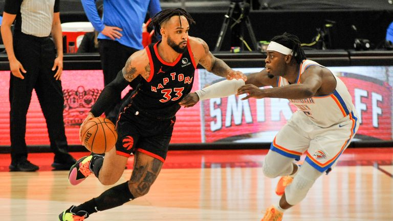 Toronto Raptors' Gary Trent Jr. (33) moves upcourt under pressure from Oklahoma City Thunder's Luguentz Dort (5) during the fourth quarter of a basketball game Sunday, April 18, 2021, in St. Petersburg, Fla. (AP Photo/Steve Nesius)