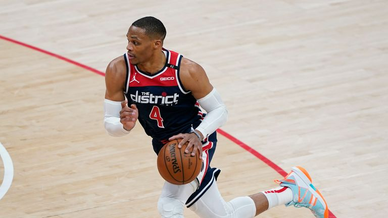 Washington Wizards guard Russell Westbrook drives down the court in the first half of an NBA basketball game against the Oklahoma City Thunder, Monday, April 19, 2021, in Washington. (AP Photo/Patrick Semansky)
