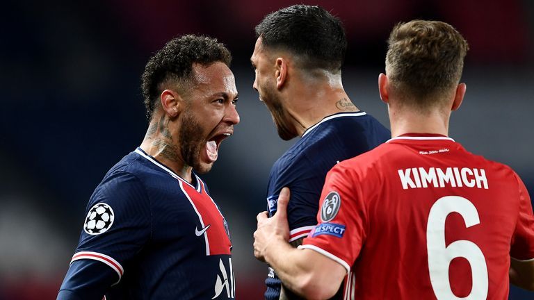 PARIS, FRANCE - APRIL 13: Neymar of Paris Saint-Germain and teammate Leandro Paredes celebrate their team's victory at full-time after the UEFA Champions League Quarter Final Second Leg match between Paris Saint-Germain and FC Bayern Munich at Parc des Princes on April 13, 2021 in Paris, France. Sporting stadiums around France remain under strict restrictions due to the Coronavirus Pandemic as Government social distancing laws prohibit fans inside venues resulting in games being played behind cl