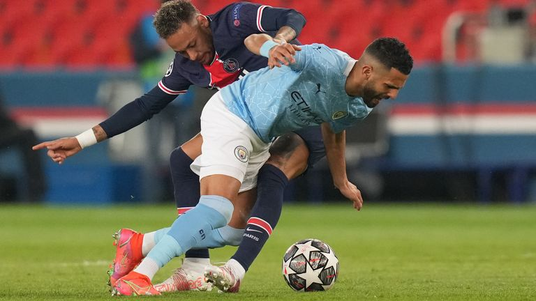 Paris Saint-Germain's Neymar (left) and Manchester City's Riyad Mahrez battle for the ball during the UEFA Champions League Semi Final, first leg, at the Parc des Princes in Paris, France