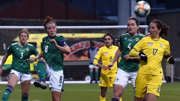 BELFAST, NORTHERN IRELAND - APRIL 13: Marissa Callaghan of Northern Ireland clears the ball during the UEFA Women's Euro 2022 Play-off match between Northern Ireland and Ukraine at Seaview on April 13, 2021 in Belfast, Northern Ireland. Sporting stadiums around the UK remain under strict restrictions due to the Coronavirus Pandemic as Government social distancing laws prohibit fans inside venues resulting in games being played behind closed doors. (Photo by Charles McQuillan/Getty Images)