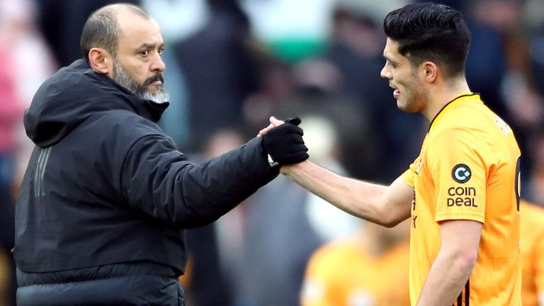 Wolverhampton Wanderers manager Nuno Espirito Santo (left) and Raul Jimenez shake hands after the final whistle during the Premier League match at Molineux, Wolverhampton.