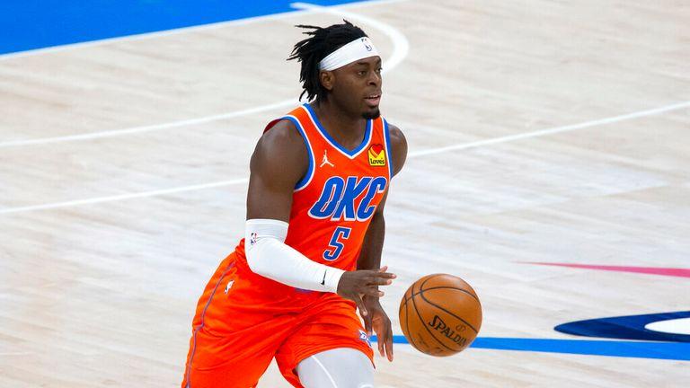 AP - Oklahoma City Thunder forward Luguentz Dort (5) during the first half of an NBA basketball game