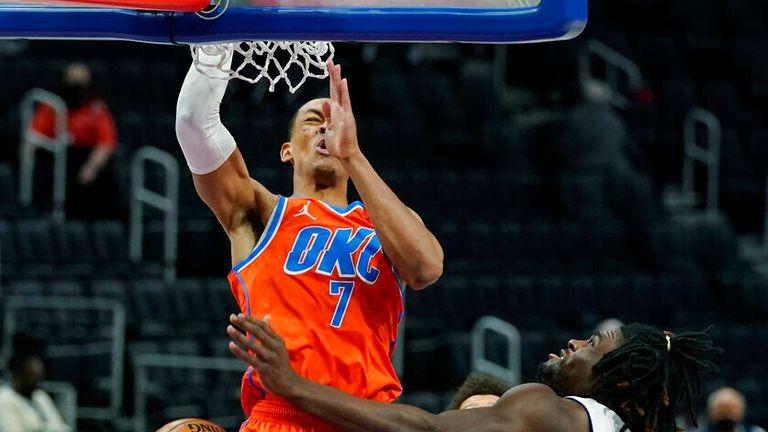 AP - Oklahoma City Thunder forward Darius Bazley (7) dunks
