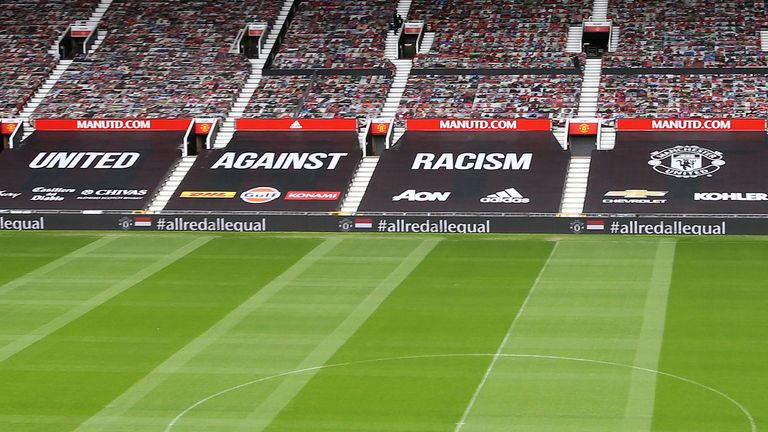 Seats in the lower tiers at Old Trafford will be covered in a 'United against racism' banner