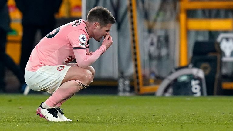 Oliver Norwood after the final whistle at Molineux sealed Sheffield United's relegation