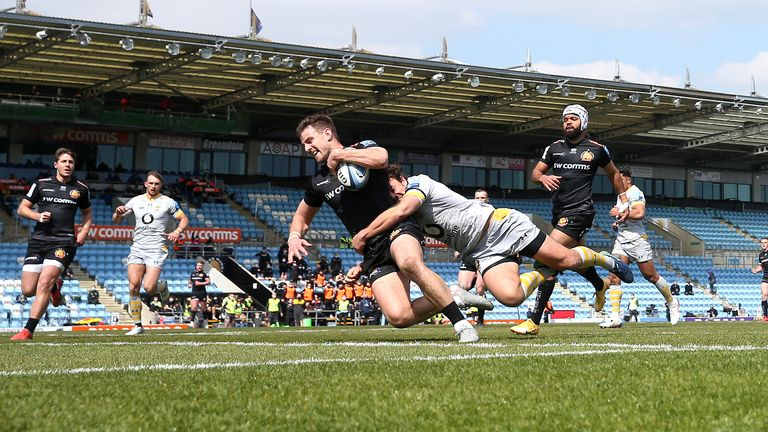 Ollie Devoto scores for Exeter