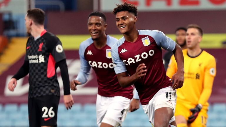 Aston Villa's Ollie Watkins celebrates scoring his side's fourth goal of the game to complete his hat trick during the Premier League match at Villa Park, Birmingham (PA)