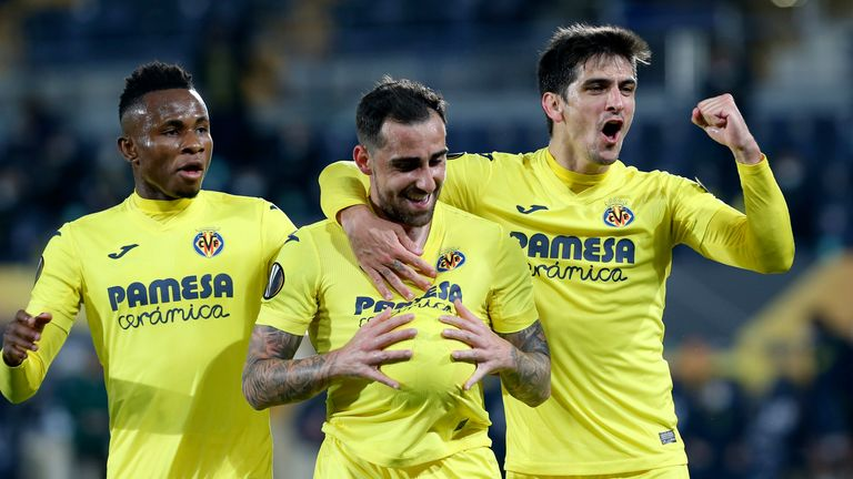 Villareal's Paco Alcacer celebrates after scoring his side's opening goal