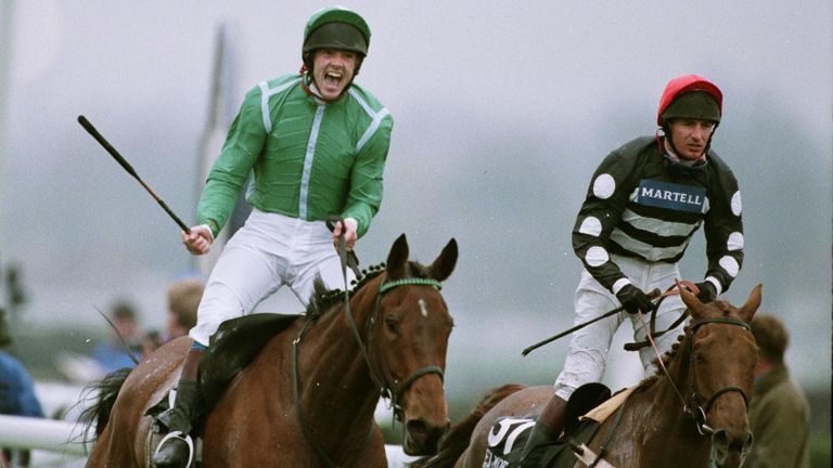 Ruby Walsh riding Papillon celebrates his victory over Mely Moss ridden by Norman Williamson